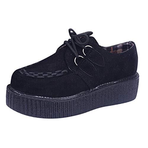 OSYARD Chaussures à Plateformes Femme Shoe en Daim Detente Fond Epais Lacets Detente Vintage Chiffon Simple Outdoor