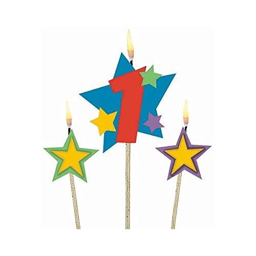 amscan International-Velas de cumpleaños (en Palos 1Estrellas, Pack de 3