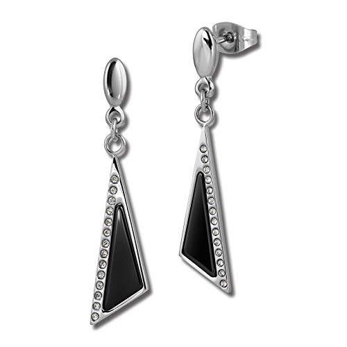Amello Ohrringe Keramik Triangle Zirkonia schwarz für Damen-Schmuck Edelstahl esox43s (Ideen Halloween-schwarzer Nagel)