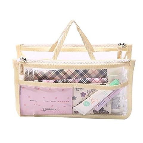hoyofo tragbar transparent Wasserdicht PVC Reise Make-up Tasche Kosmetiktasche Lagerung Fall Organizer Hand Pouch Bag in Bag mit Doppelreißverschluss beige