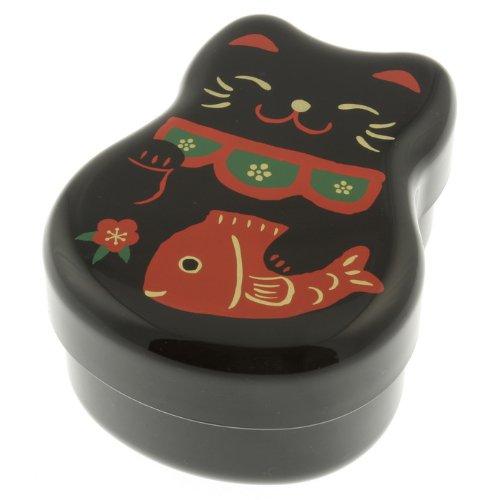 Kotobuki 2-Tiered Bento Box, Maneki Neko Lucky Cat, Black by Kotobuki (Kotobuki-bento)