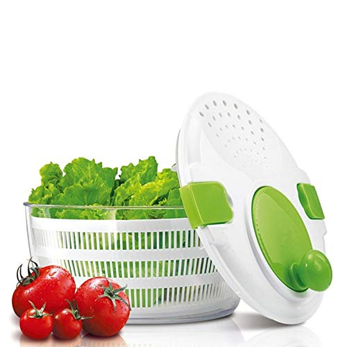 DoubleBlack Salatschleuder mit Kurbel Deckel Großes Fassungsvermögen mit Ablaufsieb für Salat Waschen Trockner einer Salatschüssel 4 Liter