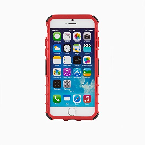 "iProtect Apple iPhone 6 (4,7"") Hülle Shockproof Hard Case Schutzhülle mit Standfunktion blau Shockproof Case Rot"