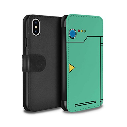 Stuff4® PU-Leder Hülle/Case/Tasche/Cover für Apple iPhone XS/Türkis Muster/Anime Cartoon Kodex Kollektion