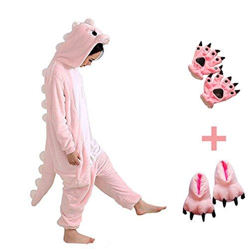 Dreamowl Kids Mädchen Jungen Dinosaurier Tier Kostüm-Kinder Plüsch Pyjamas Fluffy Tier Onesie befestigen Schuhe Pfote (Rosa, 98-104)