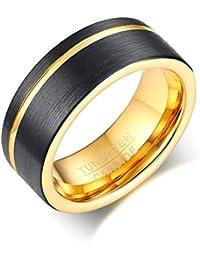 AnazoZ Schmuck Herrenring Wolframcarbid 8mm Gold Schwarz Bandringe für Männer