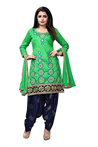Fashion2Wear Women Banglory Satin Embroidered Semi Stitched Salwar Suit Dress Material With Block Printed Bottom & Lace Border Dupatta (Free Size)