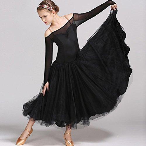 Schwarz Dance Contemporary Kostüm - Wanson Trägerlos Modernes Tanzkleid Tanzkleidung für Kinder National Standard Tanz Abnutzungs Pompon Garn