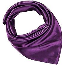 COMVIP Femme Petit Foulard Carré Couleur Uni en Soie Imité Multiusage Style  Coréen a2787d767dd