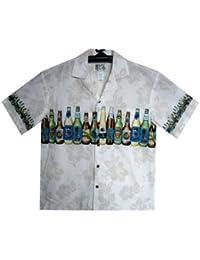 KY´s| Chemise Hawaïenne D'Origine | Pour Hommes | S - 8XL | Manche Courte | Poche Avant | Hawaiian-Imprimer | Bouteille de bière | Blanc
