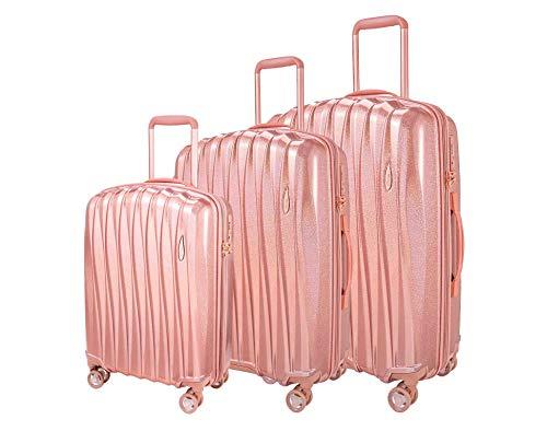 Verage Hartschalen-Koffer Glitter 3 teilig Kofferset mit Handgepäck S-M-L (Rosegold), erweiterbar, 4 Rollen S-PET Trolley TSA integriert