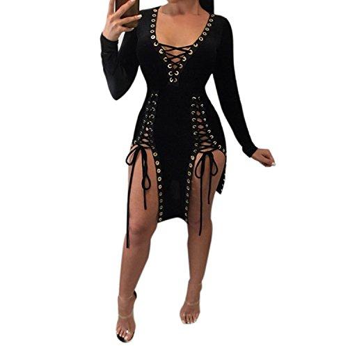 LAEMILIA Femme Robe Mini Crayon Manche Longue Col-V Slim Bandage Clubwear Sexy Robe de Cocktail Party Noir