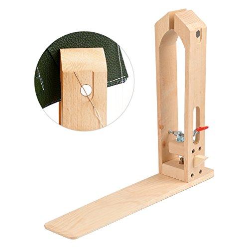 WOWOSS Nähkloben, 41 * 37cm Leder Halteklammer Leder Halteclip Set,Leder Handwerk Holz Werkzeuge zum festhalten des Leders beim Ledernähen, Nähpferd für Leder DIY Nähen Schnürung