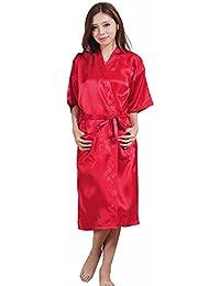 Robe - SODIAL(R)Femme Sexy Kimono Nuisette Lingerie Nuit Grand Taille Peignoir Robe Rouge M