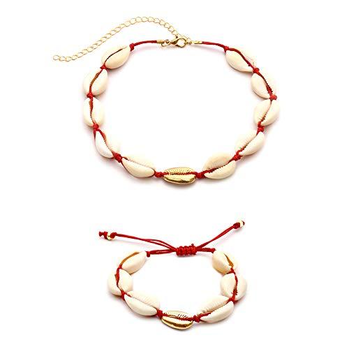 kentop caracola joyas set mujer natural concha de pulsera bohemia pulseras y hechas a mano colgante cadena Choker cuerda collar