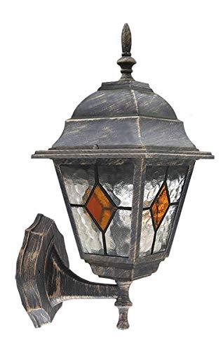 Edle Wandaußenleuchte Außenlampe Hoflampe stehend in antik-gold Wandlampe Außenleuchte Tiffany-Glas Stil IP43 8182