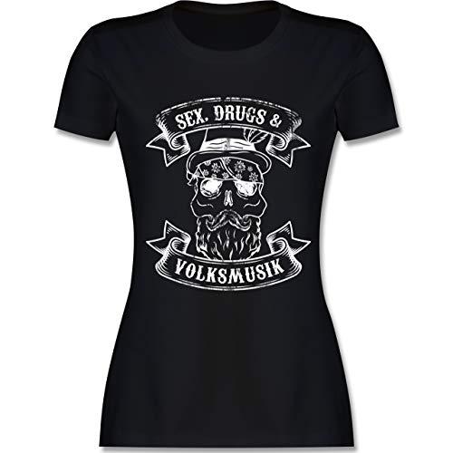 Sex Drugs Volksmusik Totenkopf - XL - Schwarz - L191 - Damen Tshirt und Frauen T-Shirt (Witzig Droge Kostüm)