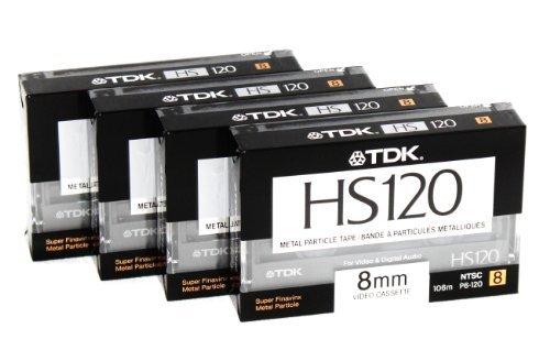 8 mm Metall Partikel-Kassette Tape TDK HS120 120 120 Minuten blanko Camcorder 4 Pack Hi8 und Digital 8 kompatibel 8 Mm Digital-camcorder