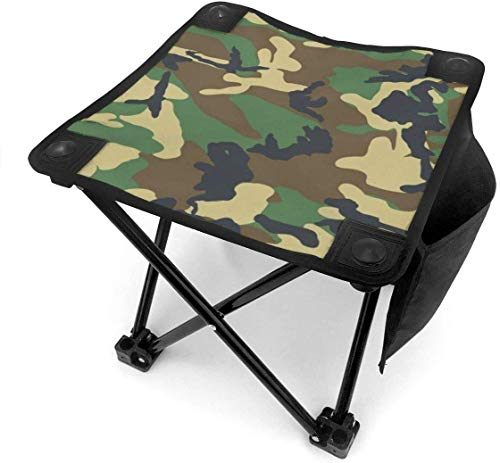 Camping Hocker Army Green Camouflage Pattern Small Camping Stool Fishing Travel Outdoor Folding Stool Portable Oxford Cloth Slacker Stool With Side Pocket For Camping Walking Hunting Hiking Picnic Ga
