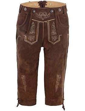 Herren Trachten-Lederhose aus Echtleder mit traditioneller Stickerei