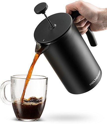 Belwares French Press Kaffeemaschine mit extra Filter für ein reicher und größere Kaffee Geschmack, entworfen mit doppelter Wand-Schwarz Edelstahl um wertvolle Hot Kaffee Temperatur (34oz)