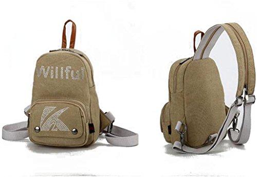 Auspicious beginning Lässigen Stil paillette multifunktionales kleine braune Brust Tasche Rucksack für Frauen khaki