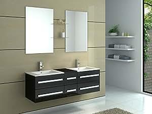 Meuble de salle de bain double vasques 6 tiroirs coloris for Miroir noir download