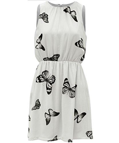 Papillon mousseline imprimé taille élastiquée Robe patineuse EUR Taille 36-42 Crème