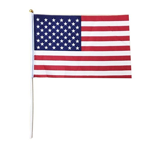 Trixes 10 Stück US Stars and Stripes Fahnen mit Sticks rot weiß und blau für Sportveranstaltungen und andere Nationale Feierlichkeiten (Und Rote Weiße Blaue Banner)