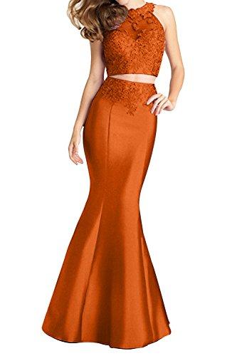 Charmant Damen Sexy Durchsichtig Zwei-teilig Meerjungfrau Abendkleider  ballkleider Promkleider Lang Neu Orange