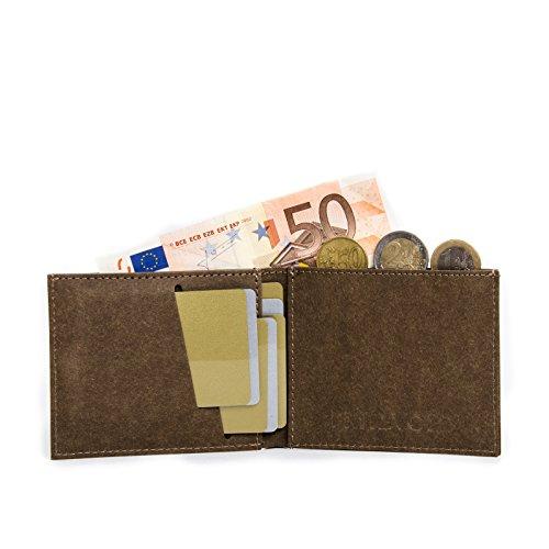 Kleiner dünner Geldbeutel Herren mit Münzfach von FRITZVOLD - Kleine Geldbörse, Slim Wallet, extrem flaches Portmonee in braun für Damen und Herren Dunkelbraun mit Münzfach