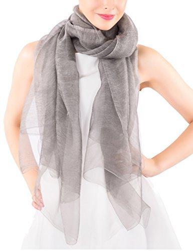 ADVANOVA Valentine's Day Gift for Women Wool Silk Scarf Lightweight Evening Wrap Wedding Sheer Gift Box (Silver Gray)