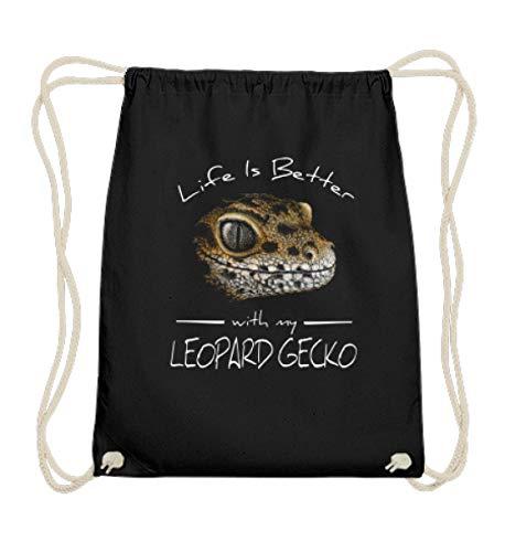 Shirtee Life Is Better With My Leopard Gecko | Für Reptilien-Haustier-Halter und Gecko-Liebhaber - Baumwoll Gymsac -37cm-46cm-Schwarz -