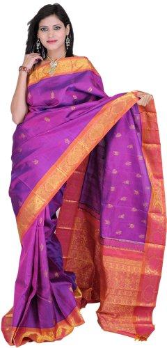 Exotic India Deep-Orchid Kanjivaram Saree with Hand-woven Flowe - Multi-Coloured