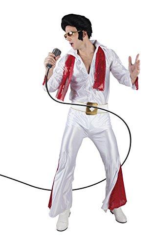 erdbeerloft - Herren Hochwertiges Kostüm Elvis, Weiß, Größe XL