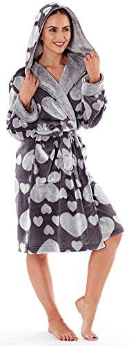 Damen Ultra Weicher Warmer Kuscheliger Winter Langer Dressing Bademantel Grau Herz 2