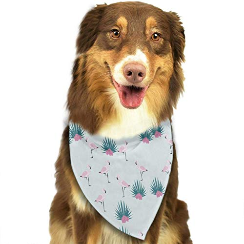 Wfispiy Flamingos and Flowers Pet Dog Bandanas Triangle Bibs Scarf Accessories for Medium to Large Size