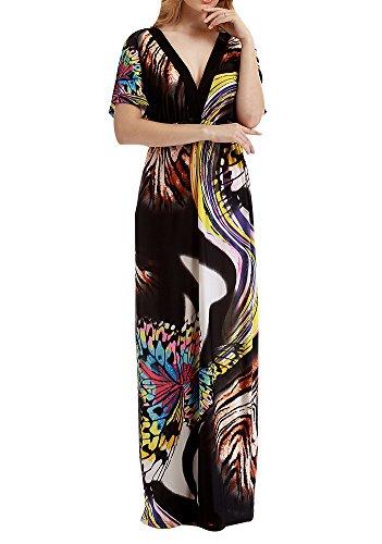 Donna boemia vestito abito maxi v-collo manica corta vestiti da spiaggia cerimonia sera partito festa banchetto taglie forti stile 3 3xl