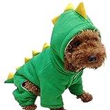 Nilefen Kapuzenpullover Dinosaurier Kostüm Jumpsuit Winter Mantel Warm Kleidung für Kleine Hunde Katzen (M, grün)