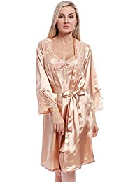8285c4c910 BellisMira Women s Satin Robe Silk Dressing Gown Lace Pyjamas Long  Nightdress Sexy Ladies Bathrobe Sleep Slip