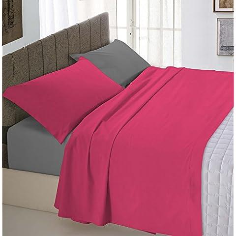 Italian Bed Linen 8058575001146 Completo Letto con Lenzuolo Sopra, Sotto e Federe Tinta Unita Doubleface, Fragola/Fumo, 100% Cotone, Matrimoniale, 250 x 300 x 1 cm