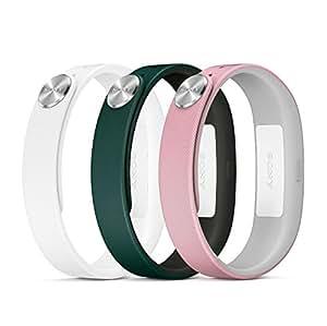 Sony Pack de 3 Bracelets pour SmartBand SWR110 Taille S Blanc/Rose/Vert