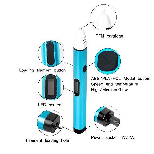 Uvistare 3D Drucker Stift Set 3D Stereoscopic Printing Pen Drawing, 3 x 3M PLA Filament ( Blau Rot Gelb ), Intelligent mit LCD-Bildschirm, Freihand 3D Zeichnungen, für Kinder Erwachsene Kunstwerken - 2