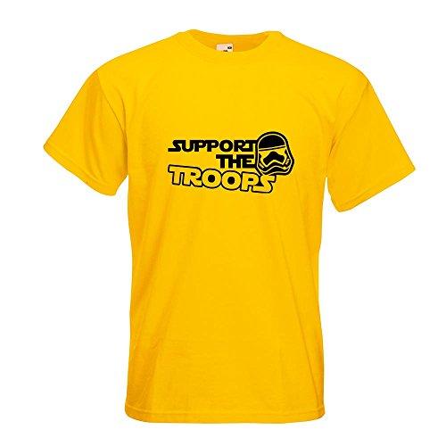 KIWISTAR - Support the Troops T-Shirt in 15 verschiedenen Farben - Herren Funshirt bedruckt Design Sprüche Spruch Motive Oberteil Baumwolle Print Größe S M L XL XXL Gelb