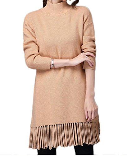 Smile YKK Mini Robe Femme Pull à Manches Longues Frange Hiver Kaki