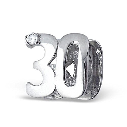 Silvadore 455 - Charm 3D scorrevole con zirconia cubica, in argento Sterling 925, motivo: Numero 30, per compleanno mamma, compatibile con braccialetto stile Pandora, in confezione regalo
