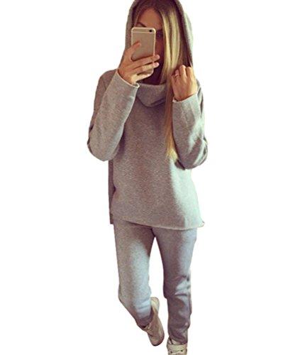 LINNUO Donna Set 2 Pezzi Felpa Tinta Unita Maniche Lunghe Sweatshirt Con Cappuccio Sportivo Pantaloni Grigio