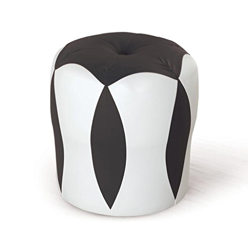 Tabouret de canapé Xuan - Worth Having Tabouret de Fleur Blanc + Noir Tabouret Bas Changer de Chaussures Tabouret de Maquillage en Cuir pour Enfants Tabouret imperméable à l'eau (33 * 33 * 35cm)