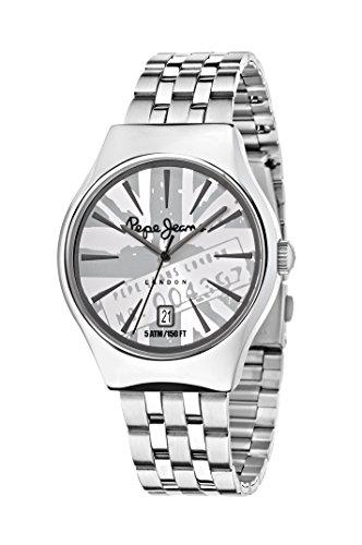 Pepe Jeans Joey hommes de montre à quartz avec cadran argenté, affichage analogique et bracelet en acier inoxydable Argenté r2353113001