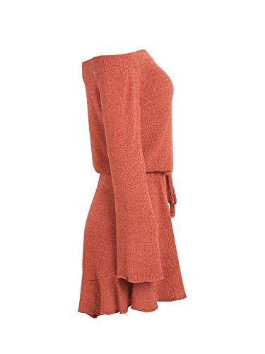 Simplee Apparel Damen Knielang Kleid Elegant Langarm Schulterfrei Strickkleider mit Trompete Ärmel Orange